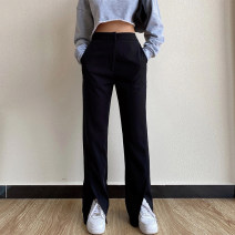 Women's large Spring 2021 black S (80-90 kg) m (90-100 kg) l (100-120 kg) XL (120-140 kg) 2XL (140-160 kg) trousers singleton  commute Straight cylinder moderate Solid color Simplicity routine Three dimensional cutting BXMB3632B Snow Charm 25-29 years old pocket Other 100% trousers