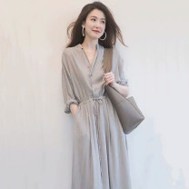 Dress Spring 2021 Grey (5) black (5) grey (long sleeve) black (long sleeve) M L XL 2XL 3XL Mid length dress singleton  Long sleeves commute V-neck High waist Solid color Socket A-line skirt routine 25-29 years old Type A Snow Charm Retro Frenulum BXMB3621B More than 95% other Other 100%
