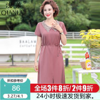 Middle aged and old women's wear Spring 2021 fashion Dress easy singleton  Solid color 40-49 years old Socket thin V-neck Medium length routine Shallowly Bandage polyester Polyester 100% 96% and above Same model in shopping mall (sold online and offline) longuette