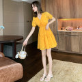Dress Summer 2020 yellow S M L XL Short skirt singleton  Short sleeve commute V-neck Elastic waist Broken flowers Socket A-line skirt routine Others 25-29 years old Type A Chaoshunpin Korean version More than 95% Chiffon other Other 100% Exclusive payment of tmall