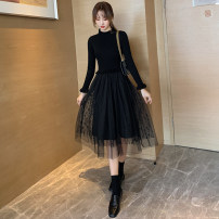 Dress Winter 2020 Black apricot S M L XL Mid length dress Fake two pieces Long sleeves commute Lotus leaf collar High waist Solid color Socket A-line skirt Lotus leaf sleeve Others 25-29 years old Type A Chaoshunpin Korean version More than 95% knitting other Other 100% Pure e-commerce (online only)