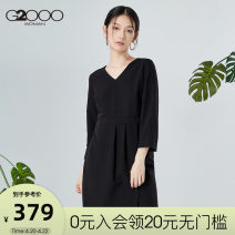 Dress Spring 2020 Black / 99 150/72A/XXS 155/76A/XS 160/80A/S 165/84A/M 170/88A/L 175/92A/XL Mid length dress commute V-neck High waist Solid color Socket One pace skirt 25-29 years old G2000 Ol style 71% (inclusive) - 80% (inclusive) polyester fiber