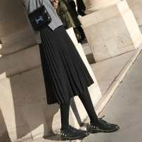 skirt Autumn 2020 S,M,L,XL Black, gray, brown, Beixing, Huaxing Mid length dress Versatile High waist A-line skirt Solid color Type A 25-29 years old RTSS68501 More than 95% knitting Other / other other Resin fixation