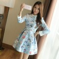 Dress Spring of 2019 S,M,L,XL Short skirt singleton  Long sleeves commute Polo collar middle-waisted Decor Socket Princess Dress routine 25-29 years old Type H ATAR Korean version More than 95% polyester fiber