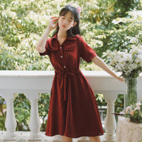 Dress Summer 2021 Dark green, sky blue, apricot, dark blue, white, red, green S,M,L,XL Miniskirt singleton  Short sleeve Sweet other High waist stripe Socket other other Others 18-24 years old Type A Splicing 71% (inclusive) - 80% (inclusive) other other Mori
