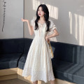 Dress Summer 2021 Apricot, green S, M Miniskirt singleton  Short sleeve Sweet Lotus leaf collar High waist Solid color Socket A-line skirt routine Others 25-29 years old Type A Frenulum 30% and below other other