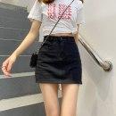 skirt Spring 2021 XXS,XS,S,M,L Black, beige Short skirt Versatile High waist A-line skirt Solid color 18-24 years old 30% and below Denim cotton