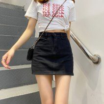 skirt Spring 2021 XXS,XS,S,M,L Black, beige Short skirt Versatile High waist A-line skirt Solid color 18-24 years old 30% and below Denim cotton