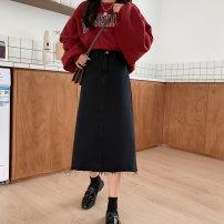 skirt Spring 2021 XXS,XS,S,M,L Black [length 71], black [length 65] longuette commute High waist A-line skirt Solid color Type A 18-24 years old Denim cotton pocket