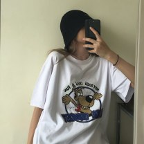 Women's large Summer 2020 Rose red white black M L XL XXL T-shirt singleton  commute easy moderate Socket Short sleeve Korean version Crew neck Medium length cotton printing and dyeing routine Xianwan Poetry 18-24 years old 91% (inclusive) - 95% (inclusive) Pure e-commerce (online only)