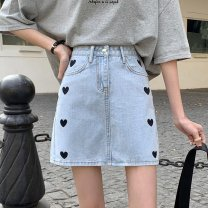 Women's large Summer 2021 Apricot white blue black S M L XL skirt singleton  commute moderate shape Korean version Polyester cotton 10229# Xianwan Poetry 18-24 years old Embroidery Short skirt Polyester 75% cotton 25% Pure e-commerce (online only)