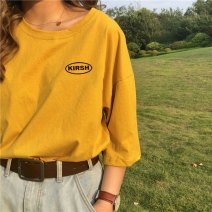 Women's large Summer 2020 White yellow black M L XL XXL T-shirt singleton  commute easy moderate Socket Short sleeve letter Korean version Crew neck Medium length cotton printing and dyeing routine Xianwan Poetry 18-24 years old 91% (inclusive) - 95% (inclusive) Pure e-commerce (online only)