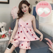 Pajamas / housewear set female Other / other M,L,XL,XXL cotton camisole Sweet pajamas summer Thin money V-neck other shorts Socket youth 2 pieces rubber string More than 95% pure cotton printing 200g and below