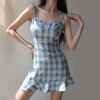 Dress Summer 2021 Picture color M,L,XL,2XL Short skirt singleton  Sleeveless commute One word collar middle-waisted lattice Socket Pleated skirt routine camisole 18-24 years old Type A Other / other Britain Ruffles , straps , Swallow tail 51% (inclusive) - 70% (inclusive) knitting polyester fiber