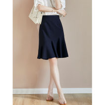 skirt Spring 2021 S,M,L,XL,2XL Navy Blue Middle-skirt commute High waist High waist skirt Solid color Type A RS032002 30% and below other Rothaes / Lohans wool Button, thread, stitching, lace up