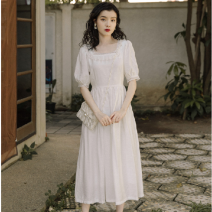 Dress Summer 2021 Pearl White S,M,L Mid length dress singleton  Short sleeve Sweet square neck Elastic waist Solid color other other routine Others 18-24 years old Type A 91% (inclusive) - 95% (inclusive) Chiffon cotton Countryside