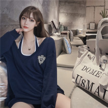 Women's large Spring 2021 Navy Blue M (recommended 90-100 kg), l (recommended 100-120 kg), XL (recommended 120-140 kg), 2XL (recommended 140-160 kg), 3XL (recommended 160-180 kg), 4XL (recommended 180-200 kg) T-shirt Two piece set commute Long sleeves V-neck 96% and above