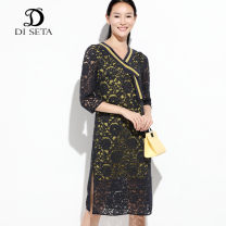 Dress Spring 2020 2/S 3/M 4/L longuette singleton  Long sleeves commute V-neck middle-waisted Decor Socket A-line skirt 30-34 years old printing 71% (inclusive) - 80% (inclusive) nylon Same model in shopping mall (sold online and offline)