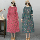 Dress Autumn 2020 1, 2, 3, 5, 6, 7, 8, 10, 11, 12, 13, 15, 16, 17, 18, 19, 20 L,XL,2XL longuette singleton  Long sleeves commute Crew neck Elastic waist Decor Socket Big swing routine Others 30-34 years old Type A ethnic style Bows, pockets, bandages, prints 81% (inclusive) - 90% (inclusive) other