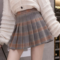skirt Winter 2020 S,M,L,XL Grey, black, coffee small, coffee big Short skirt commute High waist A-line skirt lattice Type A 18-24 years old QY666 71% (inclusive) - 80% (inclusive) Wool other Korean version