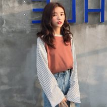 T-shirt M,L,XL,2XL Autumn of 2019 Long sleeves Crew neck easy routine commute polyester fiber 96% and above 18-24 years old Korean version youth Thin horizontal stripe Splicing