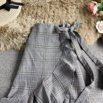 skirt Autumn 2020 Average size Gray, brown Mid length dress commute High waist other lattice Type A 18-24 years old Lacing, asymmetry, wave Korean version