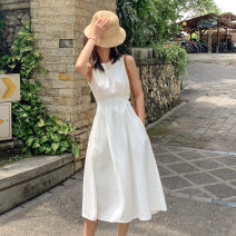 Dress Summer 2021 White, black XS,S,M,L,XL Mid length dress singleton  Sleeveless commute Crew neck High waist Solid color Socket A-line skirt routine Others 18-24 years old Type A Other / other Korean version pocket