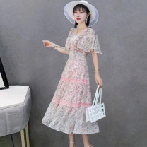 Dress Summer 2021 Blue, petals pink 160/84A,165/88A,170/92A,175/96A longuette other Long sleeves commute V-neck middle-waisted Decor Socket A-line skirt routine Others 30-34 years old Type A Jane Loman ethnic style Chiffon polyester fiber