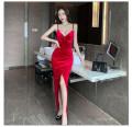 Dress Autumn 2020 Red, black S,M,L,XL longuette singleton  Sleeveless commute V-neck High waist Solid color Socket Irregular skirt camisole Type X Korean version bow 81% (inclusive) - 90% (inclusive)