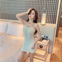 Dress Winter 2020 White, black S,M,L,XL Short skirt singleton  Sleeveless commute One word collar High waist Solid color Socket One pace skirt camisole Type A Korean version backless 91% (inclusive) - 95% (inclusive)