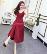 Dress Summer 2021 Red, green, black M,L,XL Mid length dress singleton  Sleeveless commute V-neck High waist Solid color zipper Big swing other camisole 18-24 years old Type A Other / other Hollowed out, backless, stitched, strapped