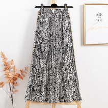 skirt Spring 2021 Average size Khaki, black and white Mid length dress Versatile High waist A-line skirt Leopard Print Type A 91% (inclusive) - 95% (inclusive) Chiffon other
