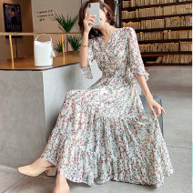 Dress Summer 2021 Picture color, vest M. L, XL, XXL longuette singleton  elbow sleeve commute V-neck High waist Broken flowers Socket Irregular skirt Lotus leaf sleeve Others 18-24 years old Splicing 81% (inclusive) - 90% (inclusive) Chiffon other