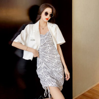 Dress Summer 2021 Black suit (original quality), white suit (original quality) S,M,L,XL Middle-skirt Two piece set Short sleeve commute High waist Decor Socket One pace skirt 25-29 years old Type A Korean version 0402-21564456 81% (inclusive) - 90% (inclusive)