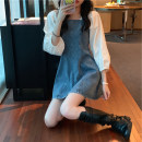 Dress Spring 2021 Picture color S,M,L,XL,2XL,3XL,4XL Short skirt singleton  Nine point sleeve commute square neck High waist Solid color Socket A-line skirt puff sleeve Others Type A Korean version Splicing 81% (inclusive) - 90% (inclusive) Denim polyester fiber
