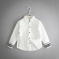 shirt Other / other male All seasons Long sleeves Korean version letter Cotton and hemp Lapel and pointed collar
