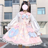 Dress Summer 2021 Mid length dress singleton  Sleeveless Sweet other High waist Cartoon animation other Big swing other Others 18-24 years old Type A 81% (inclusive) - 90% (inclusive) brocade cotton Lolita