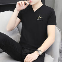 T-shirt Youth fashion thin M,L,XL,2XL,3XL,4XL Others Short sleeve V-neck Self cultivation daily summer Cotton 95% polyurethane elastic fiber (spandex) 5% youth routine tide 2020 Plants and flowers Embroidery cotton Plants and flowers No iron treatment Non brand 90% (inclusive) - 95% (inclusive)