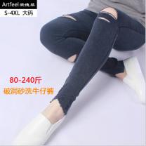 Casual pants Black, Navy M,L,2XL,3XL,4XL,5XL,XL Autumn 2020 Ninth pants Pencil pants Natural waist commute routine 25-29 years old 81% (inclusive) - 90% (inclusive) jw801 cotton Korean version pocket cotton Asymmetry