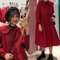 Dress Spring 2020 Picture color Average size Mid length dress singleton  Long sleeves commute Doll Collar Loose waist Solid color Socket other puff sleeve Others 18-24 years old Type A Korean version 71% (inclusive) - 80% (inclusive) brocade cotton