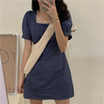 Dress Summer 2016 Blue, black Average size Middle-skirt singleton  Short sleeve commute square neck routine Others Korean version 51% (inclusive) - 70% (inclusive) other cotton