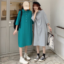 Dress Summer 2021 Ginger, light grey, black, peacock green S,M,L longuette singleton  elbow sleeve commute Polo collar Loose waist Solid color Socket Big swing routine Others 18-24 years old Type H Korean version Button MK859# 31% (inclusive) - 50% (inclusive) other cotton