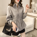 shirt Grey, blue, white sling 009 M,L,XL,2XL,3XL,4XL Spring 2021 other 96% and above Long sleeves commute Medium length Polo collar Single row multi button shirt sleeve Solid color 25-29 years old Straight cylinder Other / other Korean version bow