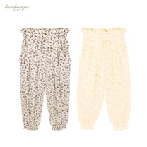 trousers Other / other female 3A(95cm),4A(104cm),5A(110cm),6A(116cm),7A(122cm),8A(128cm),10A(140cm),12A(152cm) Light yellow flower wide leg pants, bright yellow plum blossom wide leg pants summer trousers Britain Knickerbockers cotton Cotton 100% WM29F0624 Class A Anti mosquito trousers