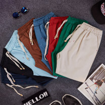 Casual pants Others Youth fashion Coffee, Navy, light blue, peacock blue, green, red, black, off white, boutique socks 3XL,2XL,XL,L,M routine Ninth pants Other leisure Self cultivation Micro bomb summer teenagers tide 2017 middle-waisted Little feet Haren pants Arrest line washing Solid color hemp
