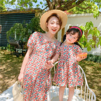 Parent child fashion Pink, violet Women's dress female Orange and pomelo 90cm, 100cm, 110cm, 120cm, 130cm, 140cm, mother's average size M (within 130kg recommended) Oxford floral skirt with back summer lady Thin money Broken flowers skirt cotton M Other 100% Class B