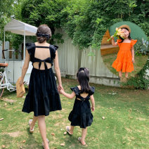 Parent child fashion Black, orange Women's dress female summer Korean version Thin money Solid color skirt cotton Average size Other 100% Two, three, four, five, six, seven, eight, nine Chinese Mainland
