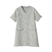 Dress Summer of 2019 Gray blue Truly exquisite fabric small fragrance op (s), truly exquisite fabric small fragrance op (m) Short skirt singleton  Short sleeve commute V-neck Loose waist A-line skirt routine 25-29 years old Retro other