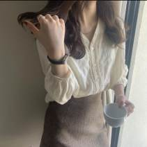Lace / Chiffon Spring 2021 white M,L,XL,XXL,XXXL Long sleeves commute singleton  Regular V-neck Solid color routine 18-24 years old Korean version 31% (inclusive) - 50% (inclusive) cotton