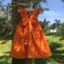 Dress Orange (cotton) female Other / other 80cm, 90cm, 100cm, 110cm, 120cm, 130cm, 140cm, 3-day delivery without emergency, 150cm (adults can't wear it) Cotton 100% summer Solid color cotton A-line skirt Chinese Mainland Zhejiang Province Ningbo City